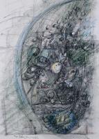 Reverence to Leonard da Vinci ダヴィンチへの敬意 1992 Acril Pen Paper 24×42cm