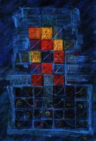Inspiration of Gabbeh ギャベの霊感 1996 Acryl Pastel Paper 37×27cm ⓒToshihiko Shibano