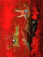Seahorse タツノオトシゴ  1979 Oil Paper 32×41cm ⓒToshihiko Shibano