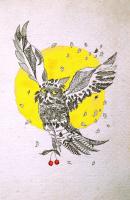 Owl and cherry フクロウとサクランボ 1980 Pen Acryl paper 19×28.5cm ⓒToshihiko Shibano