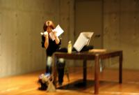 Practice of stage greeting 舞台挨拶の練習でとちるピアニストの柴野さつき。ⓒToshihiko Shibano
