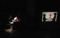 Rehearsal  before the real stage  本番直前のリハーサル。影は左がリアルマッスル泉君、右が足立堯之君。 ⓒToshihiko Shibano