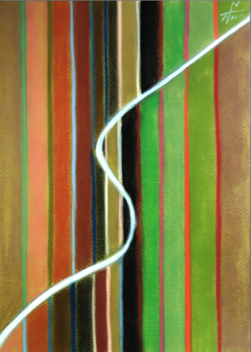 記憶の中の白い路1 The white way in memory1 2011 Pastel  Paper 33×24cm  ⓒToshihiko