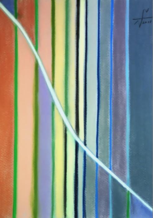 記憶の中の白い路2 The white way in memory 2  2011 Pastel  Paper 33×24cm  ⓒToshihiko Shibano
