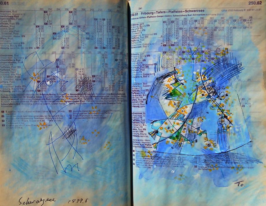 ご機嫌いかが Bonjour p250.62 1978 Pen  Water colour Pastel  Paper  18×22.5cm ⓒToshihiko Shibano