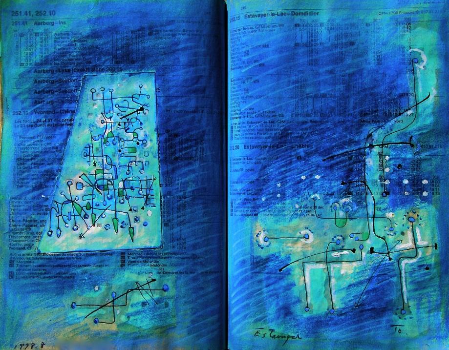 明日への矢印 The arrow to tomorrow p251.41 1978 Pen  Water colour Pastel  Paper  18×22.5cm ⓒToshihiko Shibano