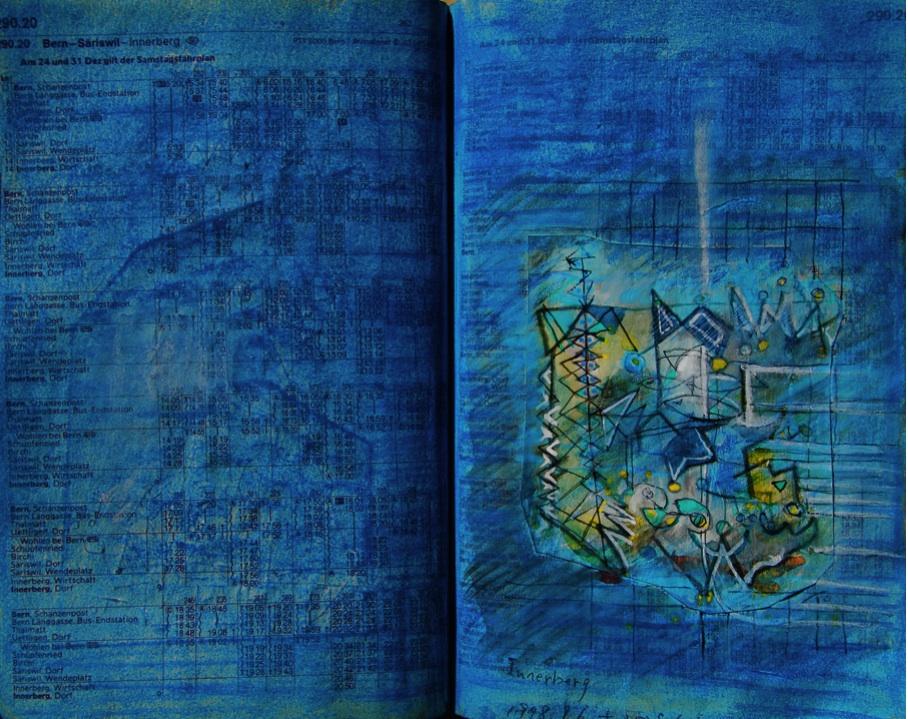 ゼンマイ仕掛け Flowering fern mechanism   p290.20 Pastel  Paper  1978 Pen  Water colour Pastel  Paper  18×22.5cm ⓒToshihiko Shibano