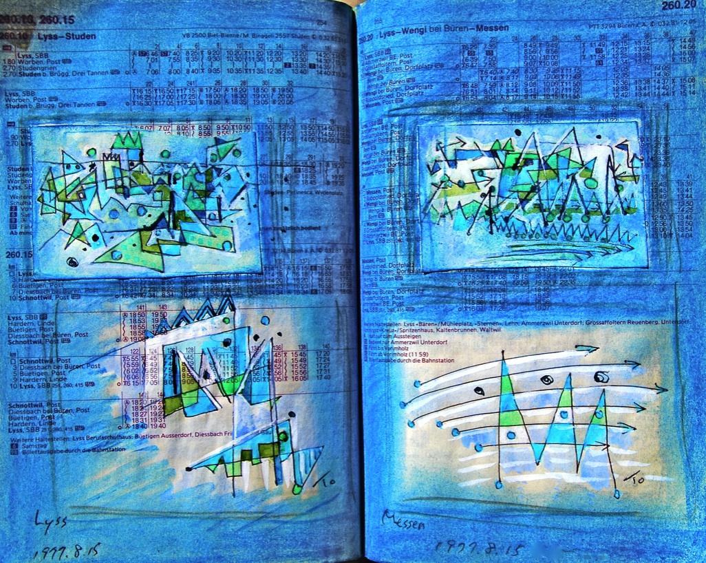 4つの窓 4windows p260.20  1977  Pen  Water colour Pastel  Paper  18×22.5cm ⓒToshihiko Shibano