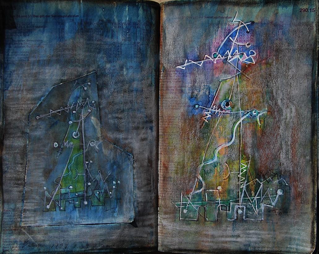父と子 A father and a child  p290.15 1977 Pen  Water colour Pastel  Paper  18×22.5cm ⓒToshihiko Shibano