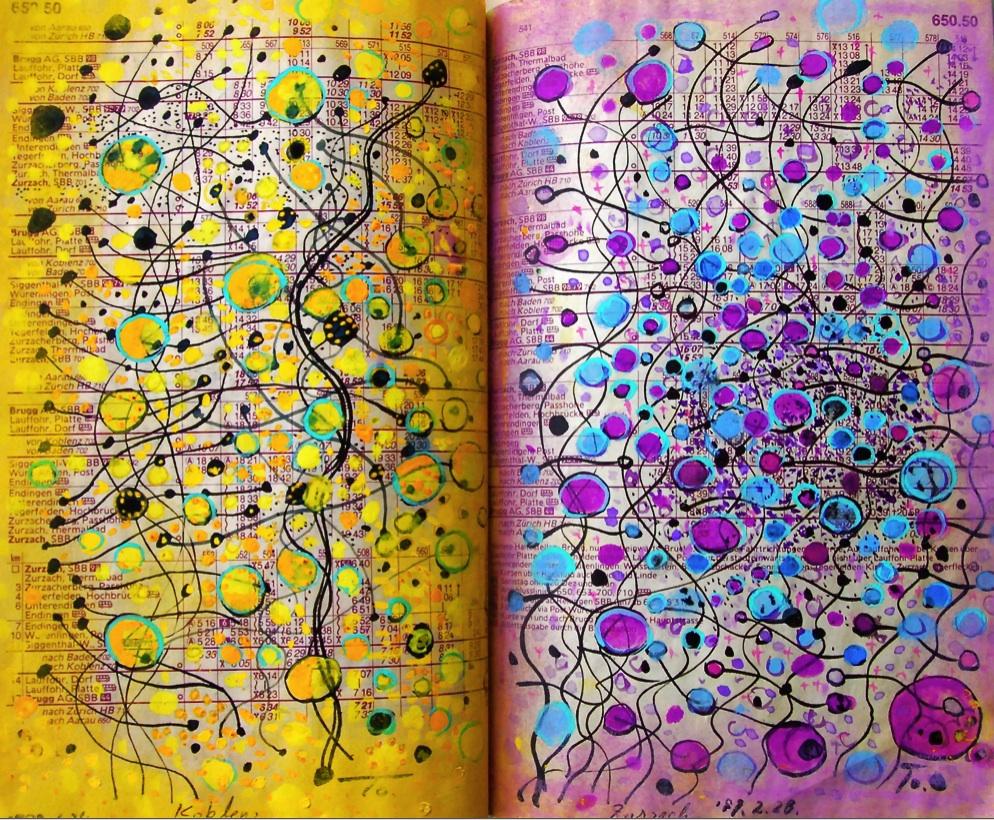 ゆらぎ1  Swinging 1  p650.50 1989 Pen  Acryl  Paper  18×22.5cm ⓒToshihiko Shibano