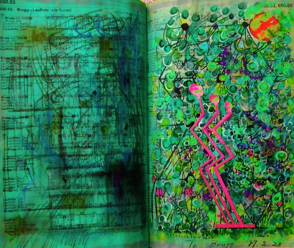 ゆらぎ3 Swinging 3  p650.53 1989 Pen  Acryl  Paper   18×22.5cm ⓒToshihiko Shibano