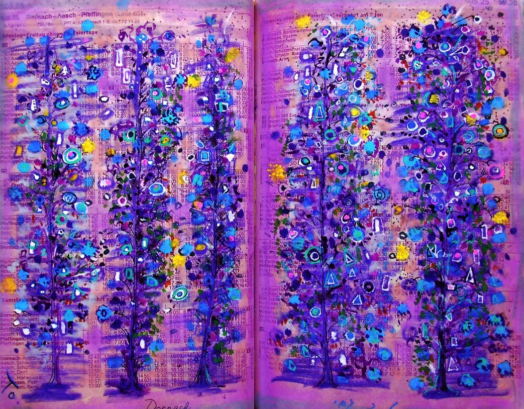 幸せな樹木 The happy trees  p505.25 1989 Pen  Acryl  Paper   Pastel  18×22.5cm ⓒToshihiko Shibano
