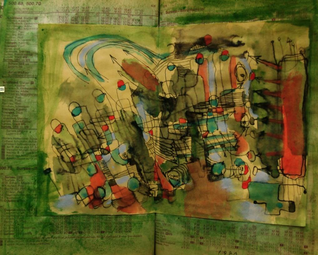 気の向くまま Mind is freely suitable. p310.85 1986  Pen  Acryl  Paste Paper  18×22.5cm ⓒToshihiko Shibano