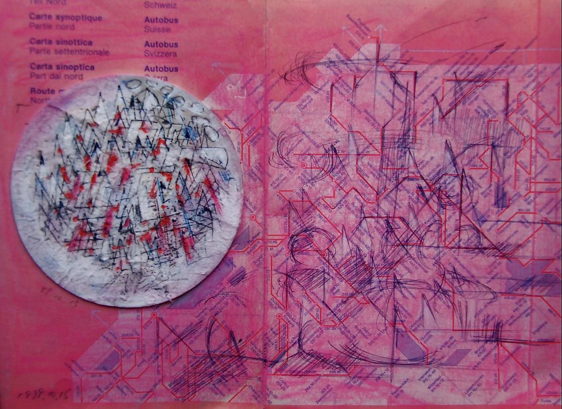 ピンク色のバス時刻表 A pink bus timetable  1989 Pen  Water colour Pastel  Paper  18×22.5cm ⓒToshihiko Shibano