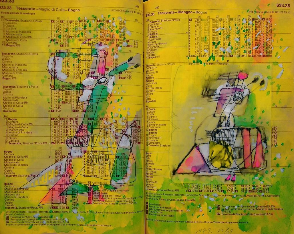 一緒に踊ろうよ Shall we dance?  p633.33 1987 Pen  Water colour   Paper  18×22.5cm ⓒToshihiko Shibano