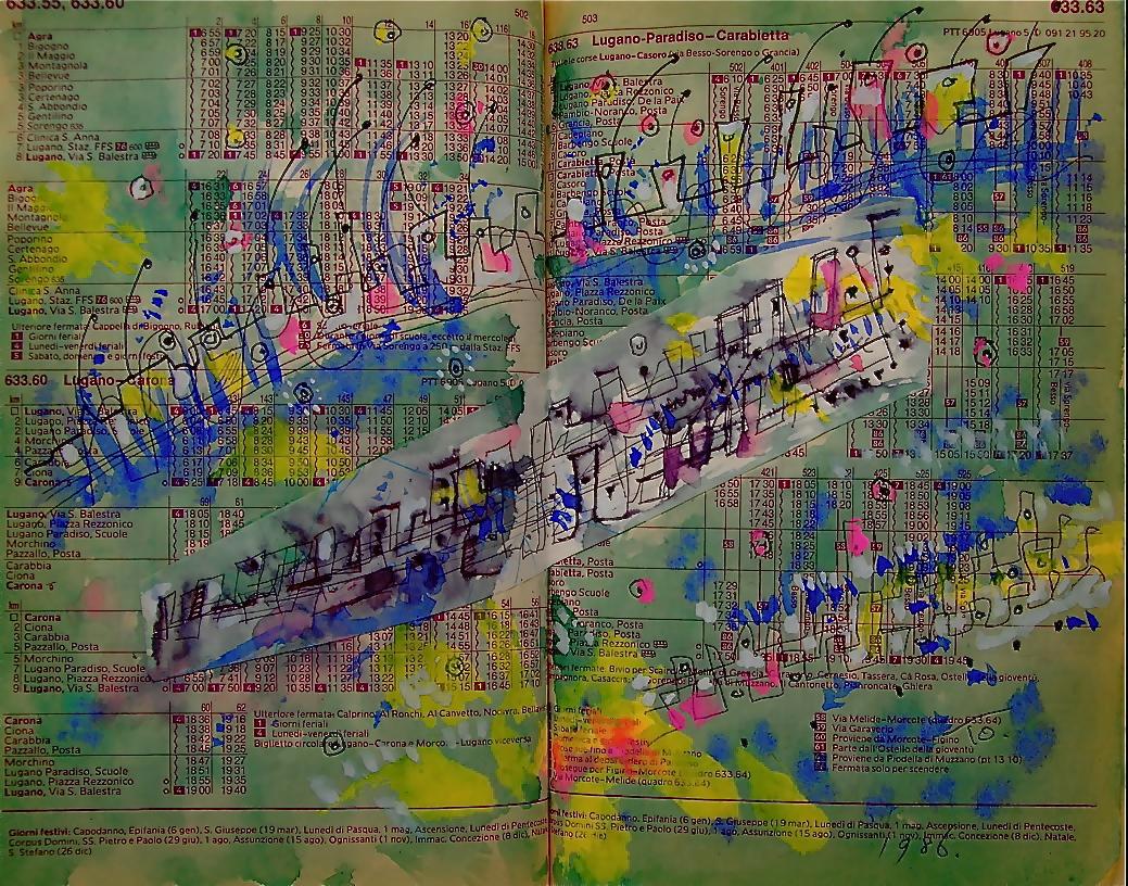 一発逆転 Walk-off hit  p635.55 1986 Pen   Water colour  Paper  18×22.5cm ⓒToshihiko Shibano