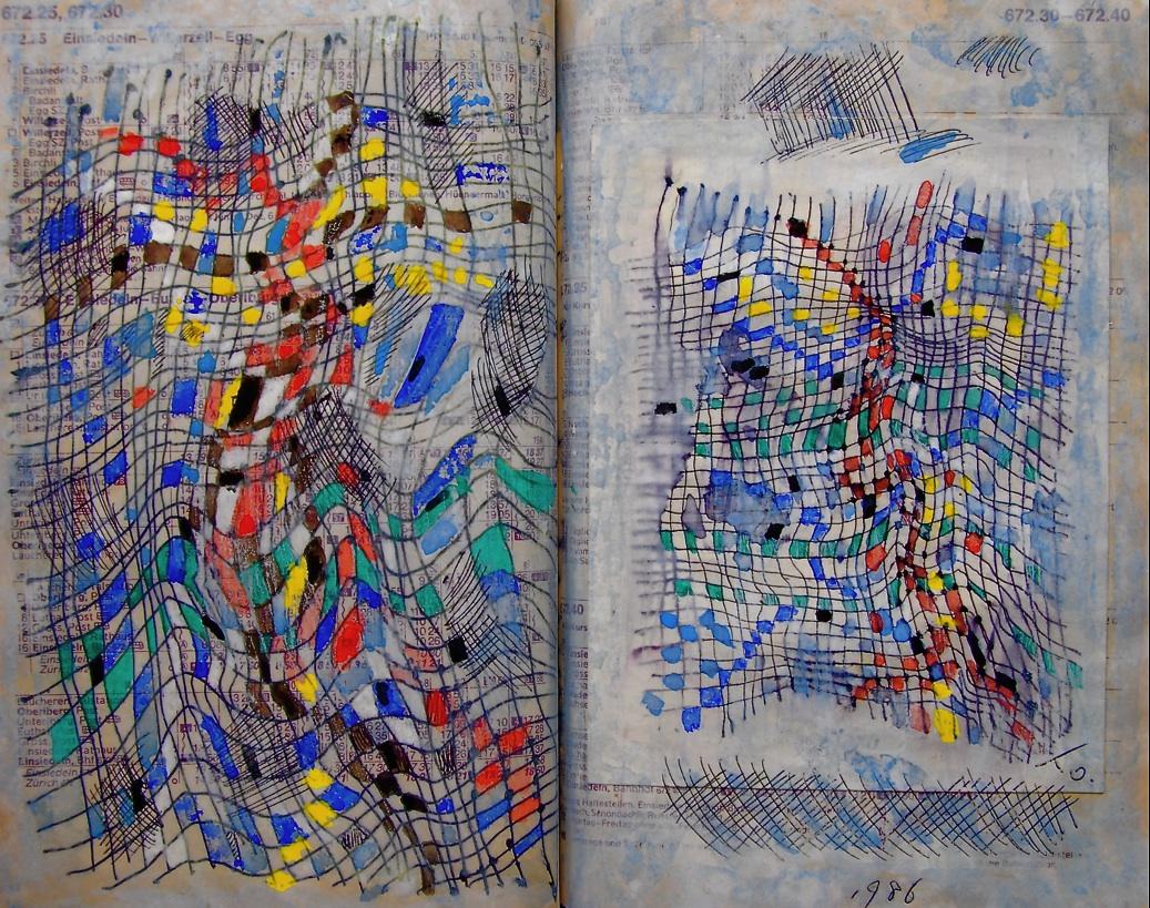 あやとり Cat's cradle  p672.25 1986 Pen   Water colour   Paper  18×22.5cm ⓒToshihiko Shibano