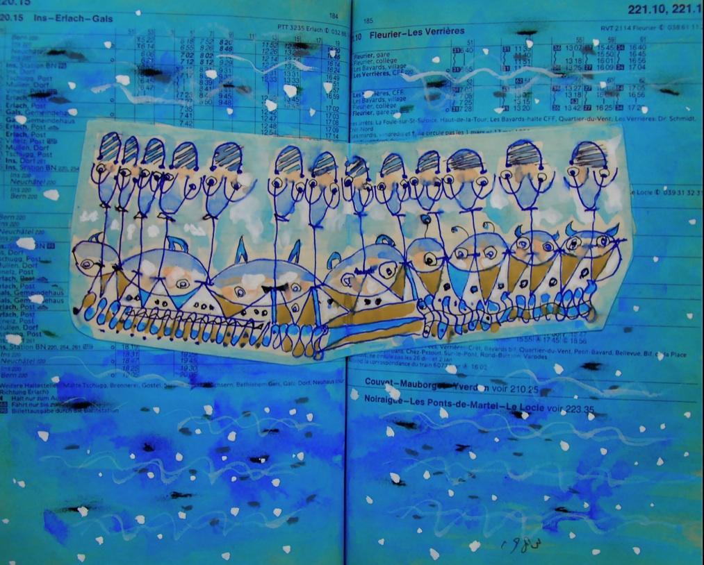 みな兄弟姉妹 All is brother and sister   p220.15 1983 Pen   Water colour  Paper  18×22.5cm ⓒToshihiko Shibano