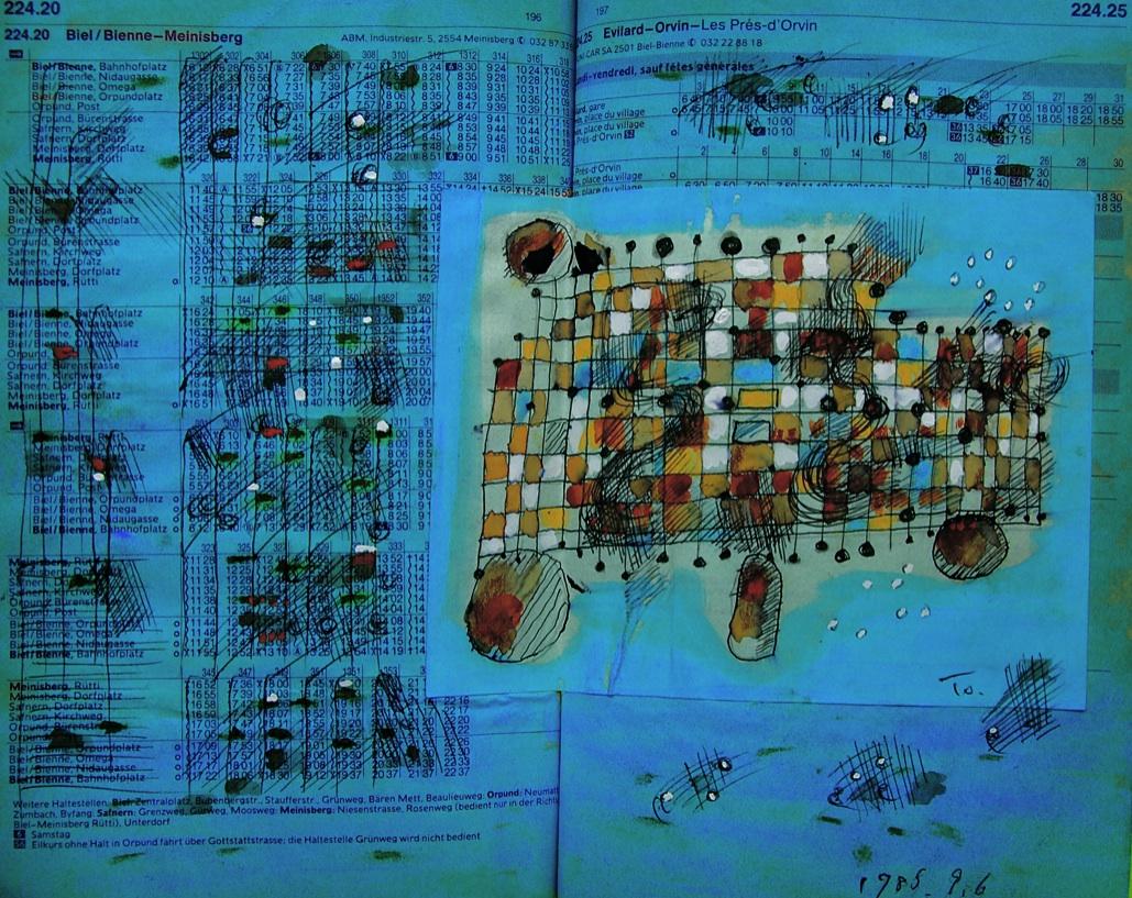どこか遠くへ連れてって  Take me to a distance.  p224.20 1985 Pen   Water colourl  Paper   18×22.5cm ⓒToshihiko Shibano