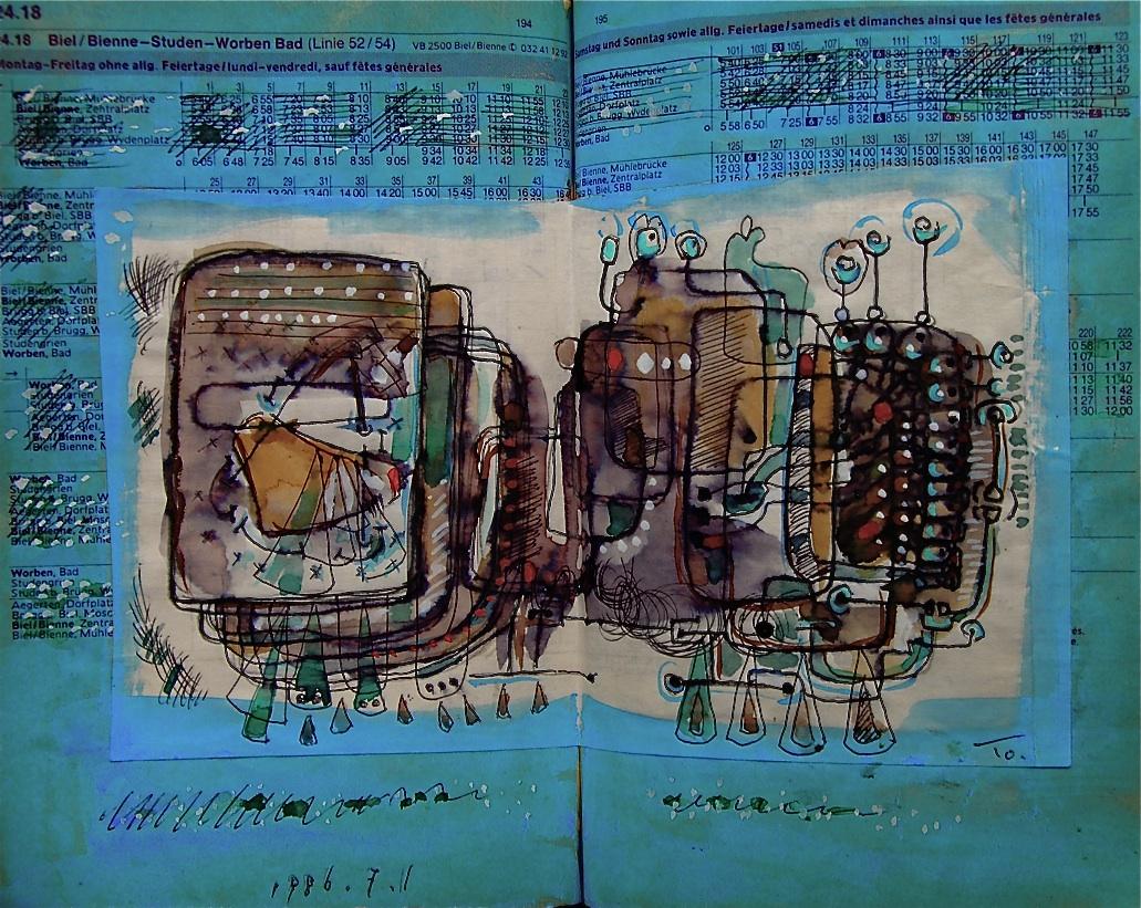 自動洗脳機 1 Automatically wash your brain  p224.18 1986 Pen  Acryl  Paper  Pastel  18×22.5cm ⓒToshihiko Shibano