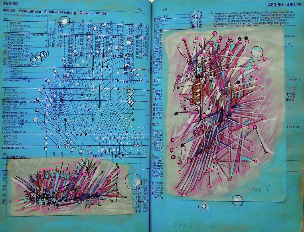 自動運動機  Automatic movement machine  p310.85 1986  Pen  Water colour   Paper  18×22.5cm ⓒToshihiko Shibano
