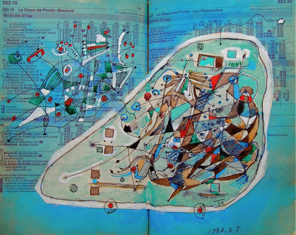 自動前進機  Automatic advance machine   p223.15 1983 Pen    Water colour  Paper  18×22.5cm  ⓒToshihiko Shibano
