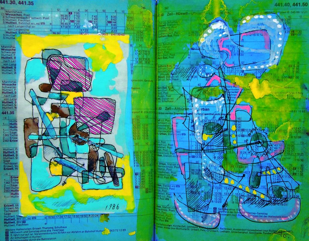自動歩行機   Automatic walk machine 2 p441.30 1986  Pen  Pastel  Water colour Paper  18×22.5cm ⓒToshihiko Shibano