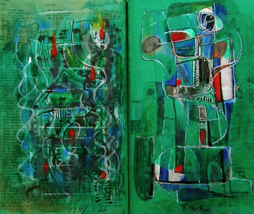 存在するということ Existence  p36 1989  Pen  Acryl   Water colour Paper  18×22.5cm ⓒToshihiko Shibano