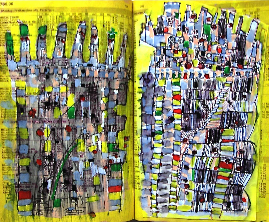 天空への階段 Stairs to the sky  p709  1981 Mixed Media Paper 18×22.5cm  ⓒToshihiko Shibano