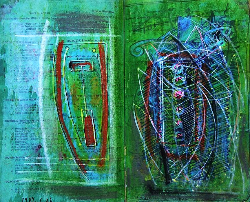 カミソリスケート Razor Skate  p61 1989 Mixed Media Paper 18×22.5cm  ⓒToshihiko Shibano