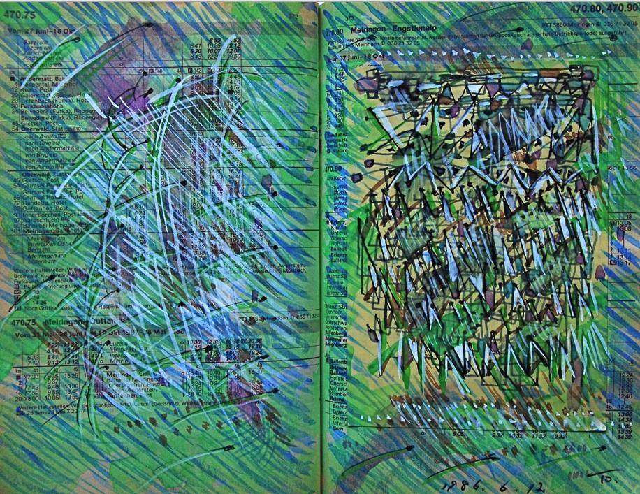 羽ばたき Flapping of wings  p373  1986 Mixed Media Paper 18×22.5cm  ⓒToshihiko Shibano