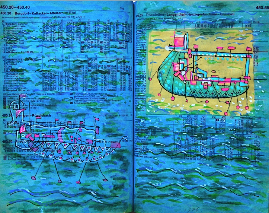 海の上のそぞろ歩き p353  1986 Mixed Media Paper 18×22.5cm  ⓒToshihiko Shibano