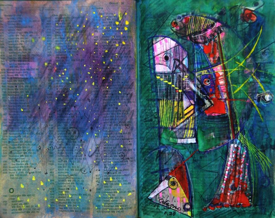 夜の精霊 The spirit  of night  p27 1989 Mixed Media Paper 18×22.5cm  ⓒToshihiko Shibano