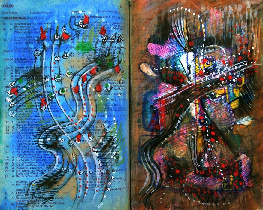 お化け Ghost p59 1989 Mixed Media Paper 18×22.5cm  ⓒToshihiko Shibano