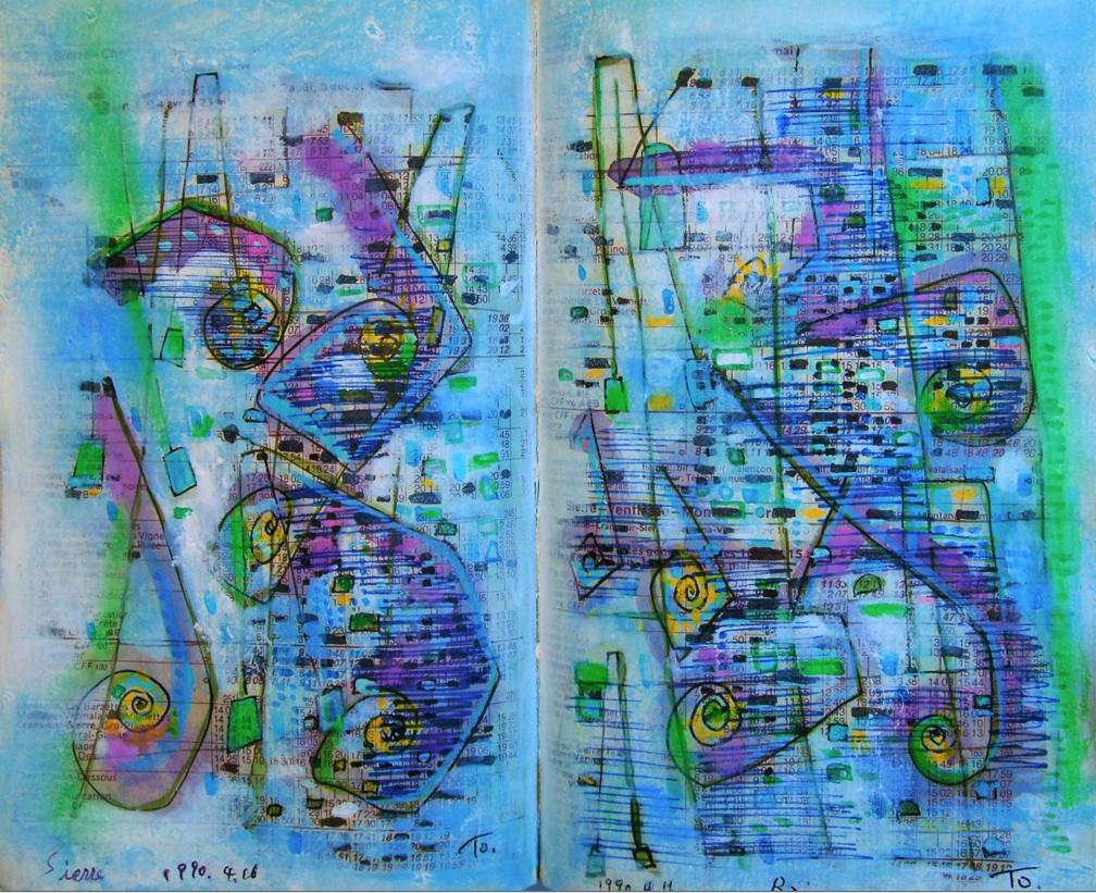 新鮮な泉の湧き出るところ  The place where a fresh spring gushes   p100.70 1990 Mixed Media Paper 18×22.5cm  ⓒToshihiko Shibano