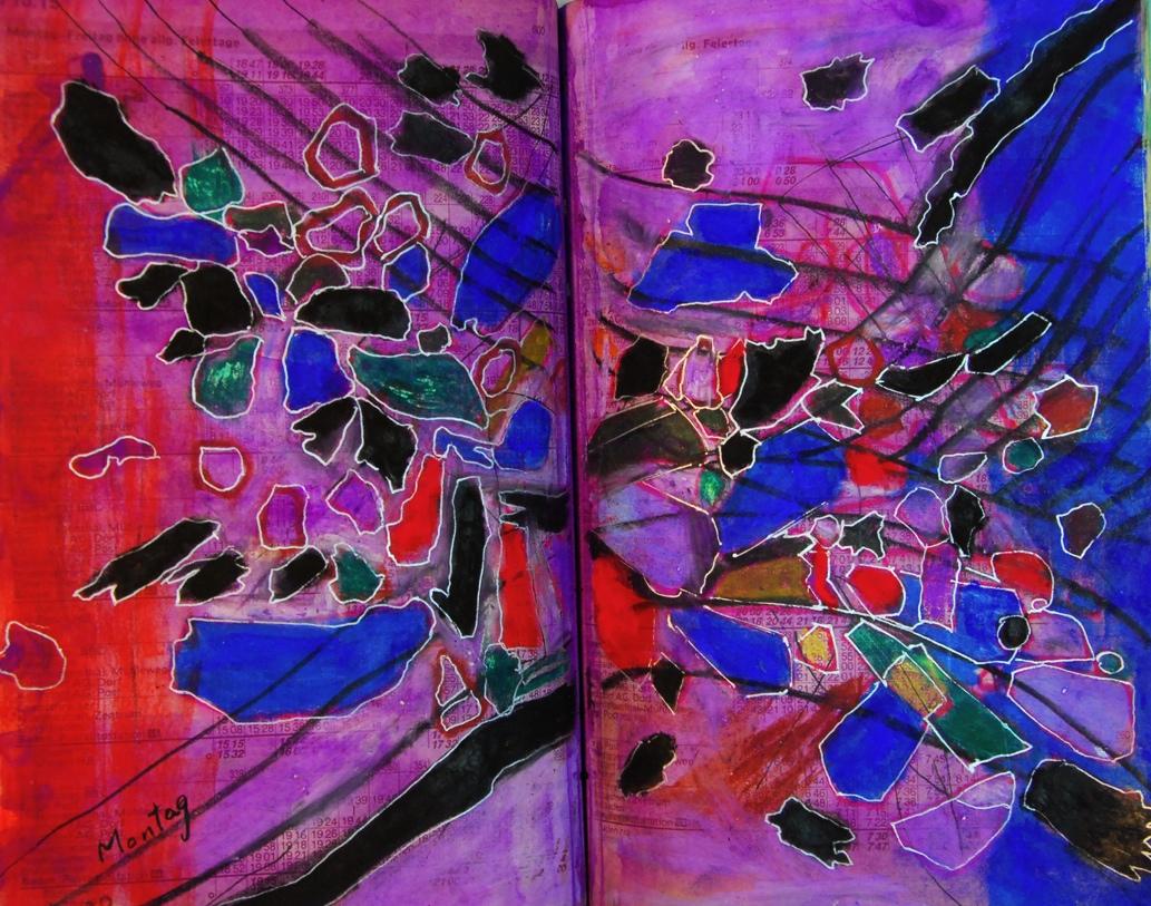 黒い花びらの舞う  A black petal dances p507   1991 Mixed Media Paper 18×22.5cm  ⓒToshihiko Shibano
