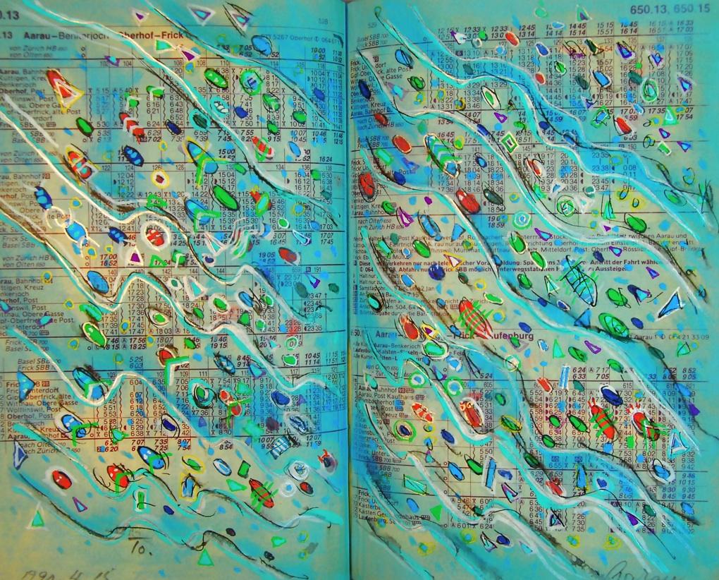赤いホタルの泳ぐ川  The river in which a red firefly swims  p650.13 1990 Mixed Media Paper 18×22.5cm  ⓒToshihiko Shibano
