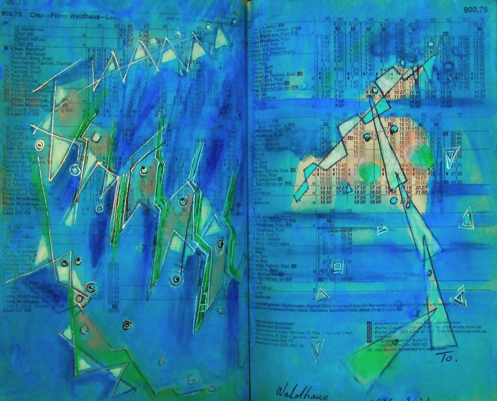 釣りをする人  The man  who is fishing  p900.75  1991 Mixed Media Paper 18×22.5cm  ⓒToshihiko Shibano