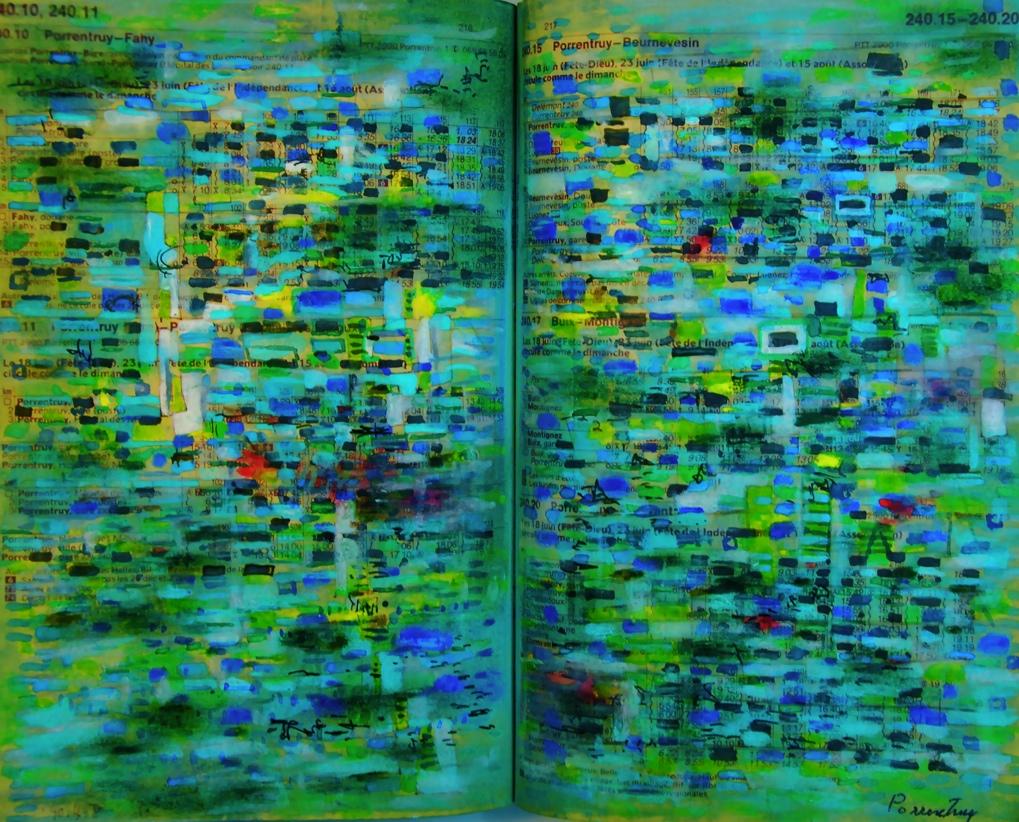青いホタルが群れる川 The river in which a blue firefly crowded p240.10  1990 Mixed Media Paper 18×22.5cm  ⓒToshihiko Shibano