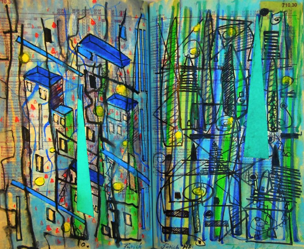 人の住む町  The town in which people live p710.30  1990 Mixed Media Paper 18×22.5cm  ⓒToshihiko Shibano