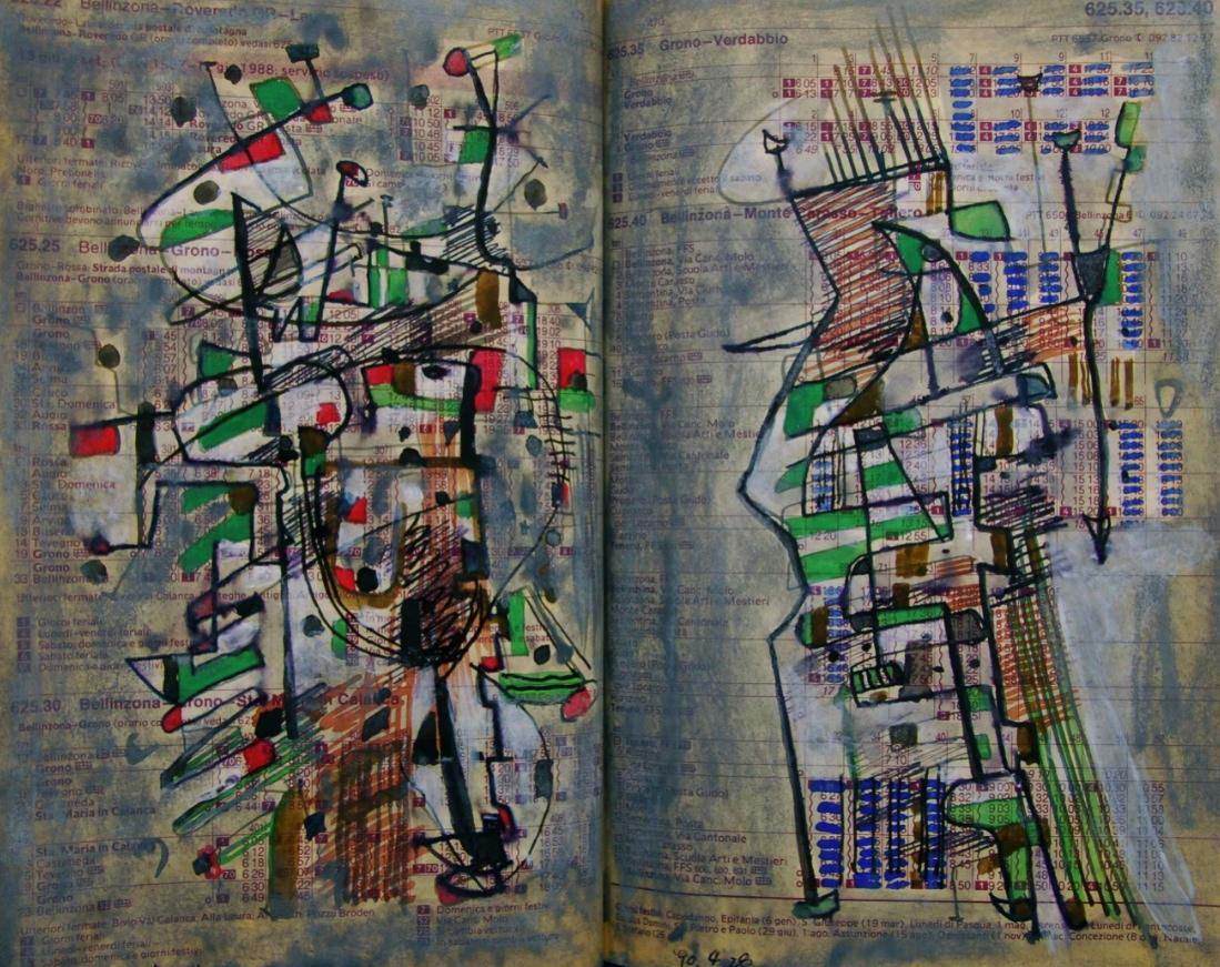 ツグミ Thrush p625.22 1990 Mixed Media Paper 18×22.5cm  ⓒToshihiko Shibano