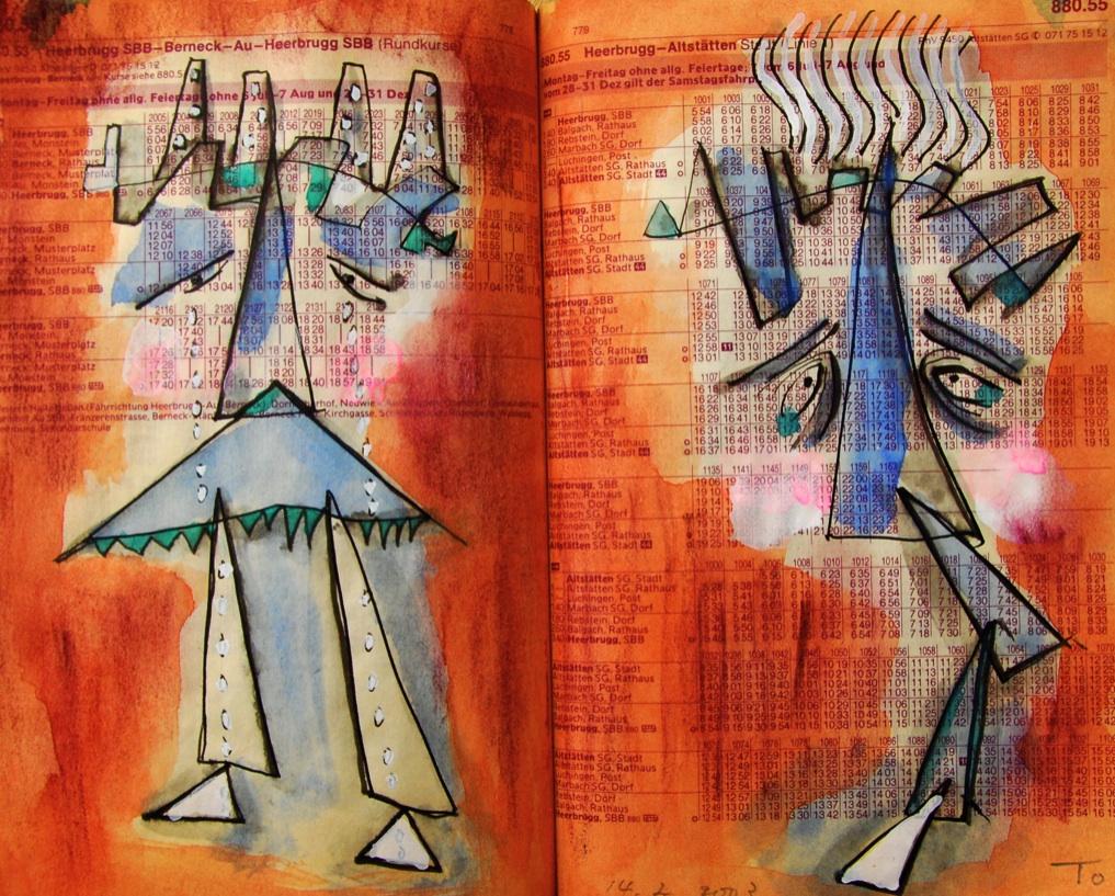双子4 Twins 4  p880.55  2003 Mix Media   Paper  18×22.5cm ⓒToshihiko Shibano