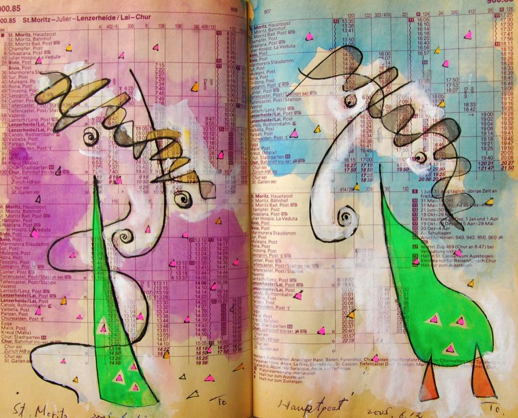 双子1 Twins 1  p900.85 2005 Mix Media  Paper  18×22.5cm ⓒToshihiko Shibano