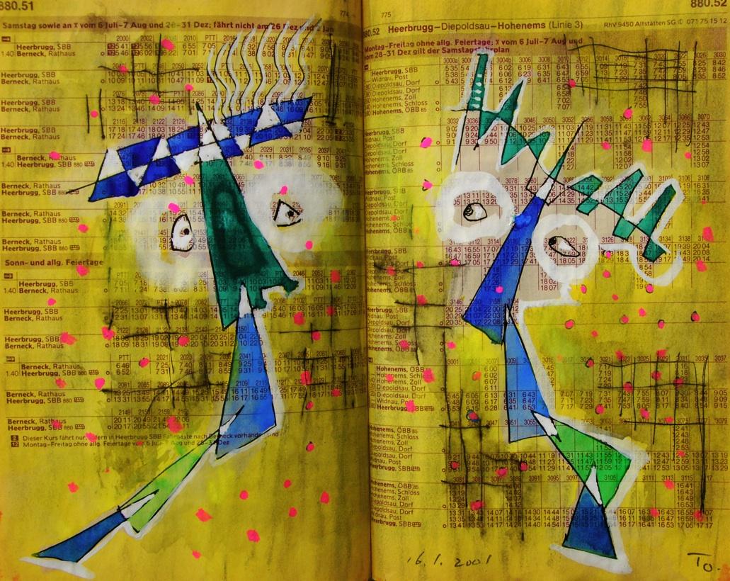 双子2 Twins 2  p880.51 2001  Mix Media Paper  18×22.5cm ⓒToshihiko Shibano