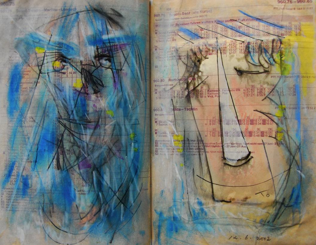 人生は儚い夢 Life is an empty dream   p960.75 2002 Mix Media  Paper  18×22.5cm ⓒToshihiko Shibano