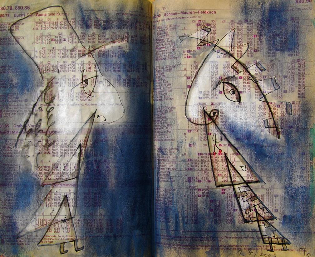 双子5 Twins5   p880.85 2002 Mix Media   Paper    18×22.5cm ⓒToshihiko Shibano