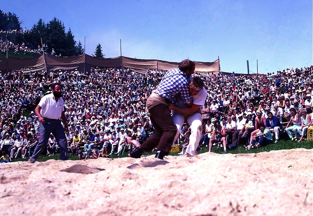 スイス相撲(国技である)1 片手で半ズボンを必ず掴んでいないと失格になる。アルプスの夏祭りの最中だった。Swiss Wrestling 1  ⓒToshihiko Shibano
