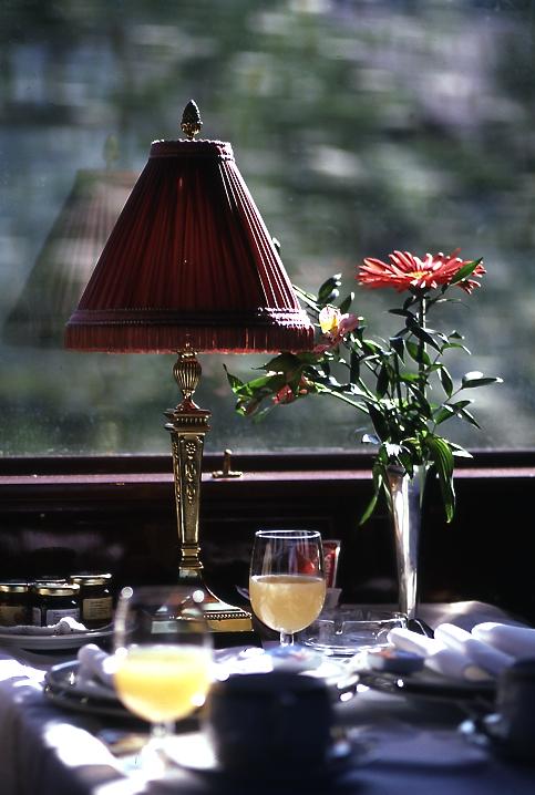 ランタンと花。A lantern and a flower  スイス国内を移動したときに乗った列車のテーブル。確か観光用の列車だったと思う。 ⓒToshihiko Shibano