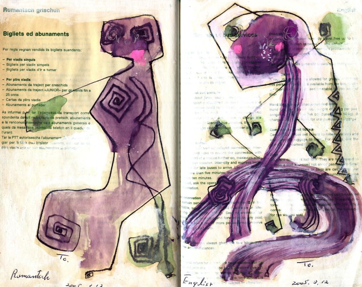 パープル・スフィンクス Purple Sphinx  p50  2005 Mix Media  Paper  18×22.5cm ⓒToshihiko Shibano