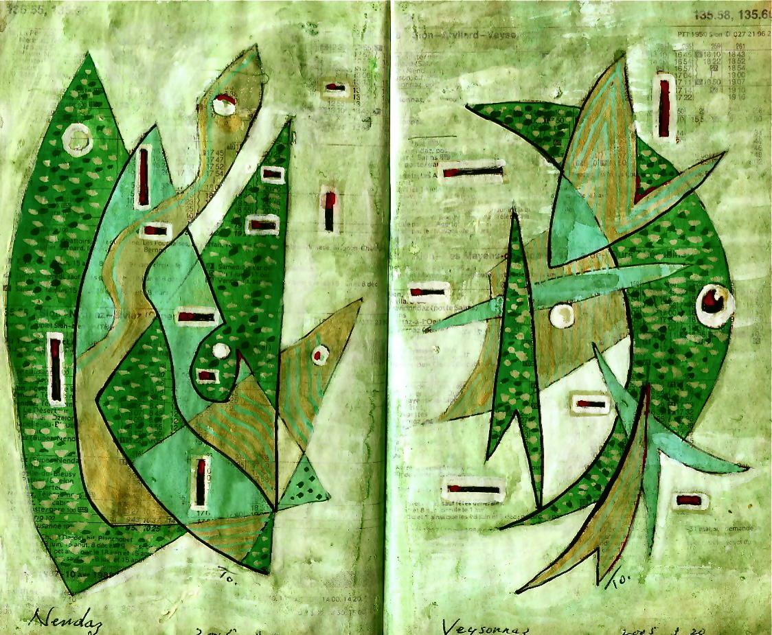 海中都市 Underwater city  p135.55 2005 Mix Media  Paper  18×22.5cm ⓒToshihiko Shibano